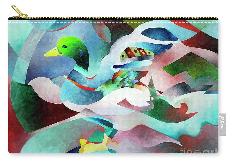 Duck Carry-all Pouch featuring the painting Mallard by Sally Trace