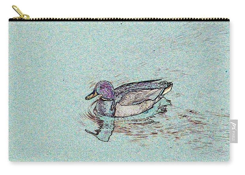 Mallard Carry-all Pouch featuring the photograph Mallards Edge by Tim Allen