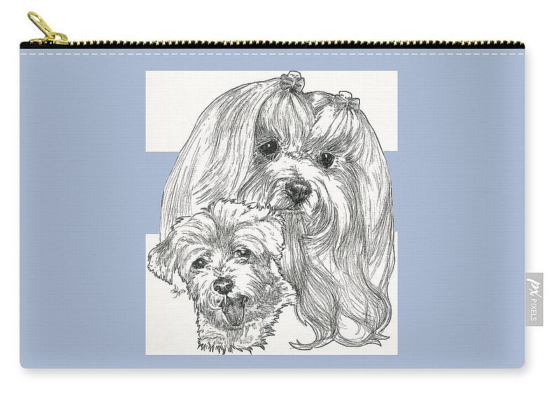 Toy Carry-all Pouch featuring the mixed media Maltese And Pup by Barbara Keith