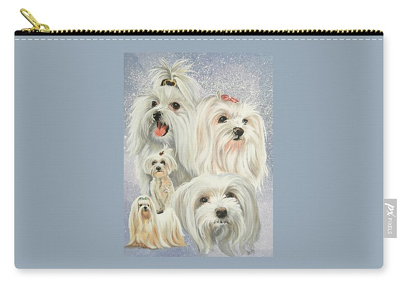 Dog Carry-all Pouch featuring the painting Maltese Collage by Barbara Keith