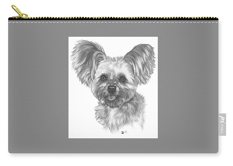 Designer Dog Carry-all Pouch featuring the drawing Malti-pom by Barbara Keith