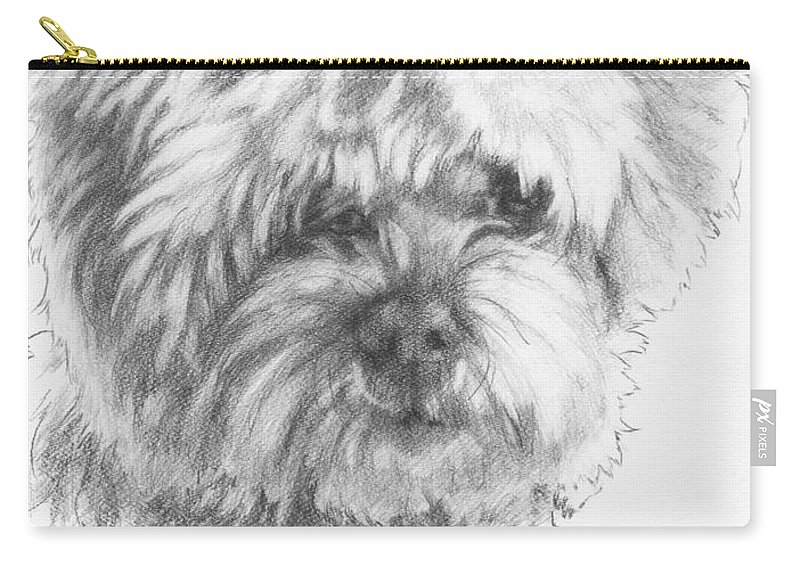 Designer Dog Carry-all Pouch featuring the drawing Malti-poo by Barbara Keith
