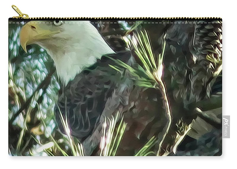 Bald Eagle Carry-all Pouch featuring the digital art Mama Eagle by Phill Doherty