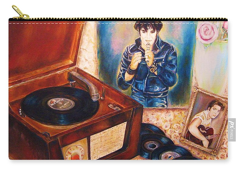Elvis Carry-all Pouch featuring the painting Mama Loved The Roses by Carole Spandau