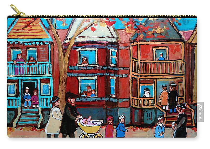 Hassidic Community Carry-all Pouch featuring the painting Mama Papa And New Baby by Carole Spandau