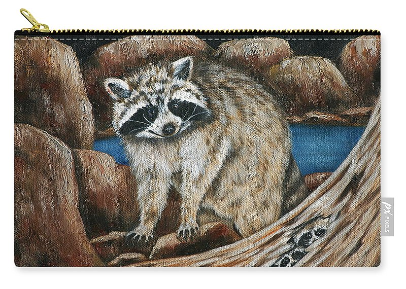 Racoon Carry-all Pouch featuring the painting Mama Racoon by Ruth Bares
