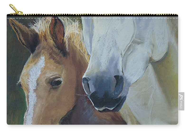 Horses Carry-all Pouch featuring the painting Mama's Boy by Heather Coen