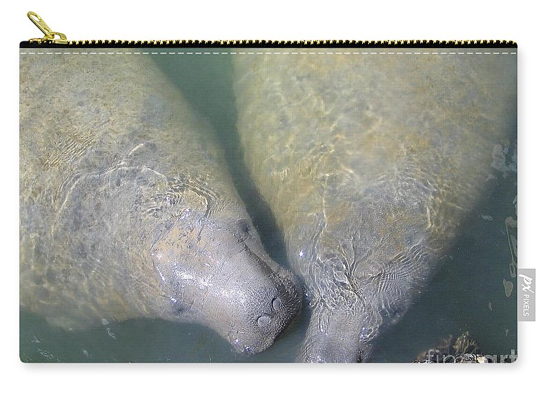 Manatees Carry-all Pouch featuring the photograph Mammoth Love by Rene Triay Photography