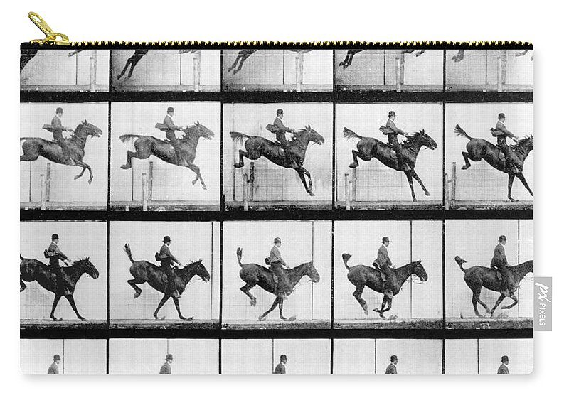 Muybridge Carry-all Pouch featuring the photograph Man And Horse Jumping by Eadweard Muybridge