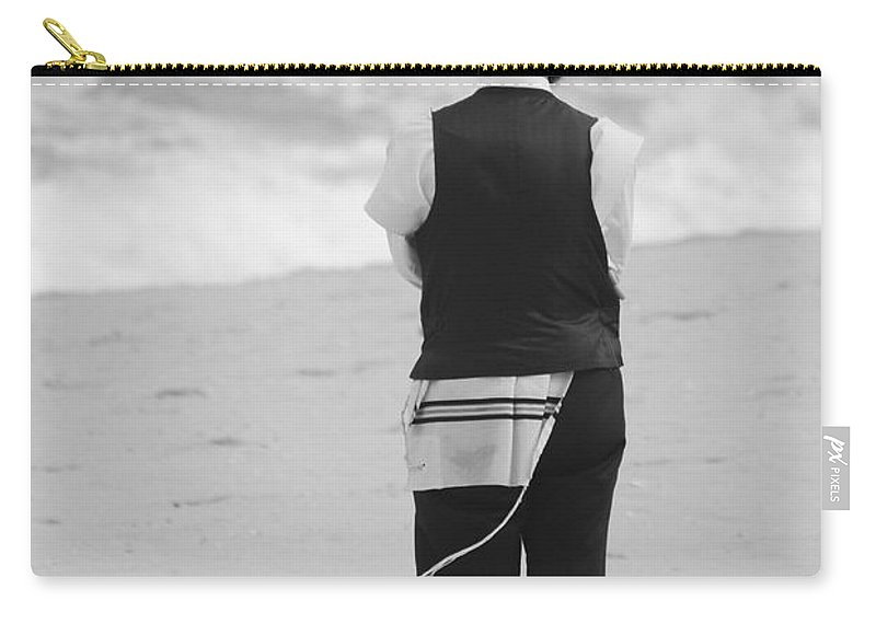 Black And White Carry-all Pouch featuring the photograph Man And The Sea by Rob Hans