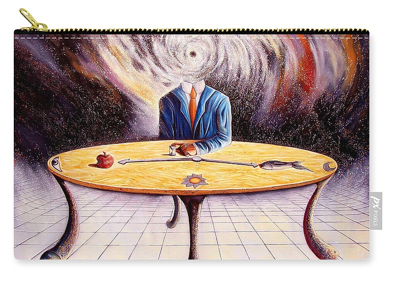 Surrealism Carry-all Pouch featuring the painting Man Attempting To Comprehend His Place In The Universe by Darwin Leon