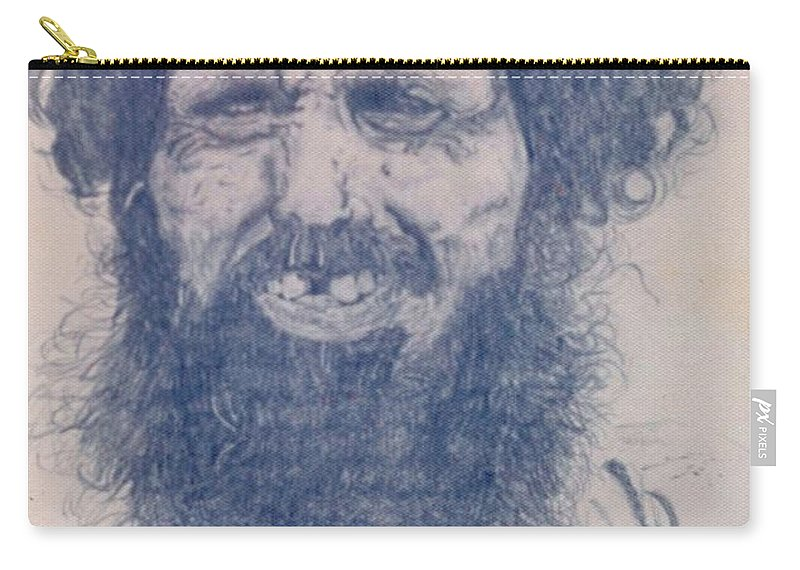 Pencil Portrait Carry-all Pouch featuring the drawing Man From Madigascar by Ron Bissett