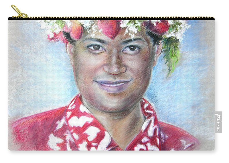 Tahiti Carry-all Pouch featuring the painting Man From Papeete In Tahiti by Miki De Goodaboom