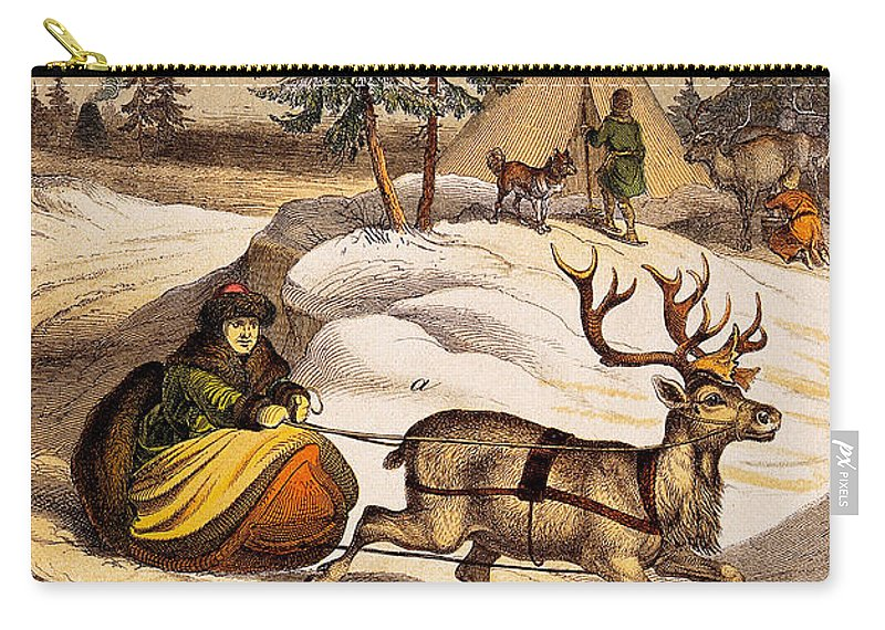 Historic Carry-all Pouch featuring the photograph Man Riding Reindeer-drawn Sleigh by Wellcome Images