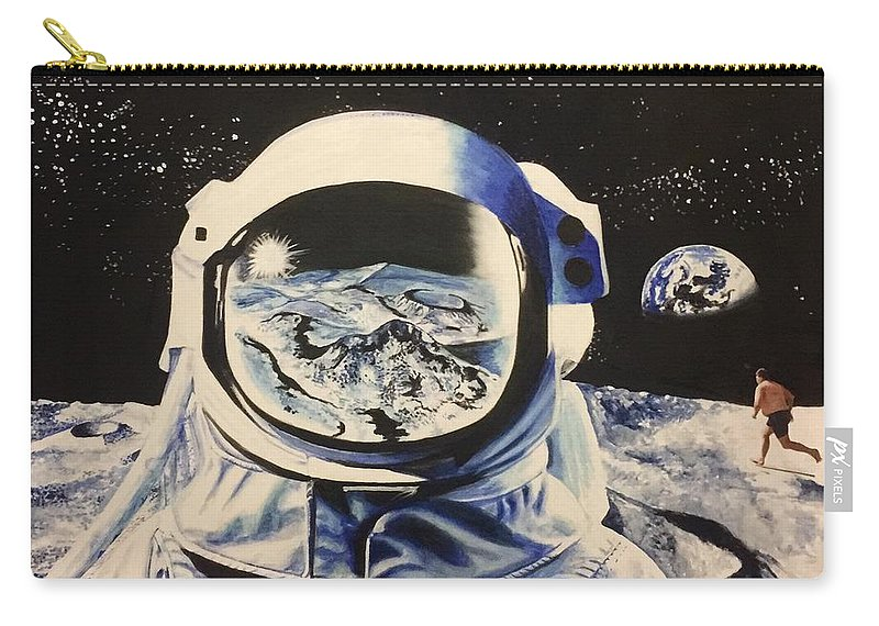 Spaceman Satire Oil Painting Carry-all Pouch featuring the painting Man Running On A Beach by David Rhys