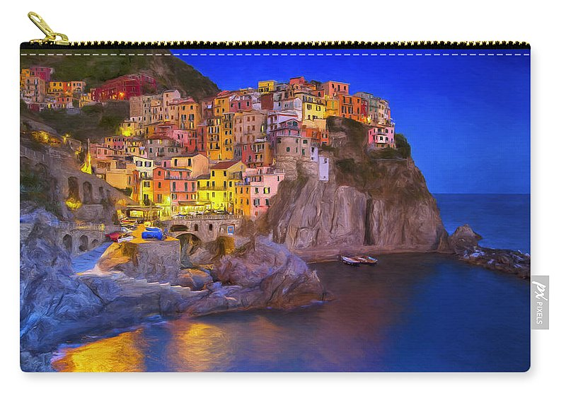 Monterosso Al Mare Carry-all Pouch featuring the painting Manarola By Moonlight by Dominic Piperata