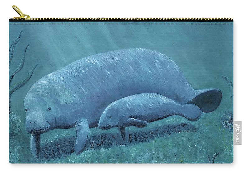 Manatee Carry-all Pouch featuring the painting Manatees by Laura Zoellner