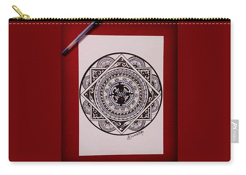 Mandala Art Carry-all Pouch featuring the drawing Mandala Art by Swarnika Singh