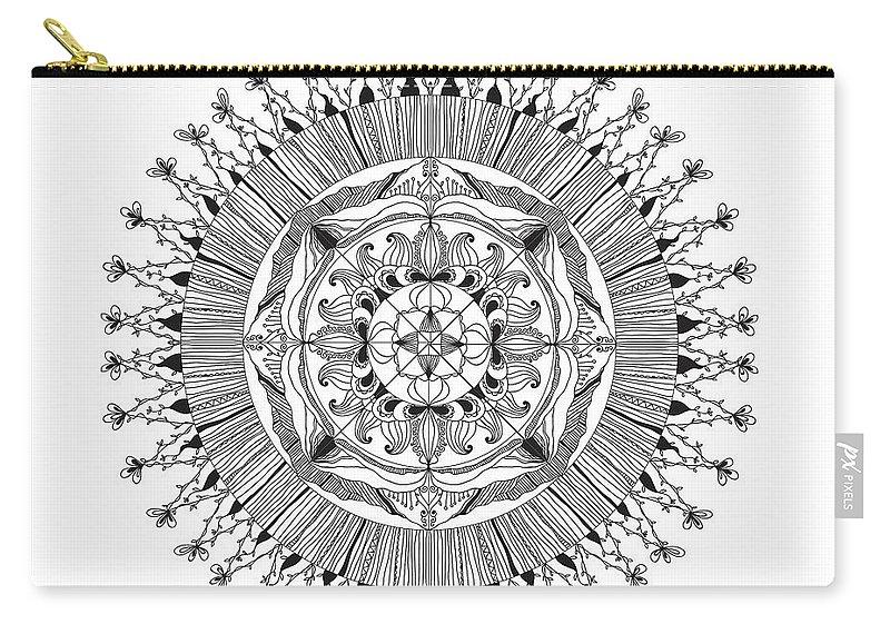 Art Carry-all Pouch featuring the digital art Mandala by Chanitsirikarn Na Chiangmai