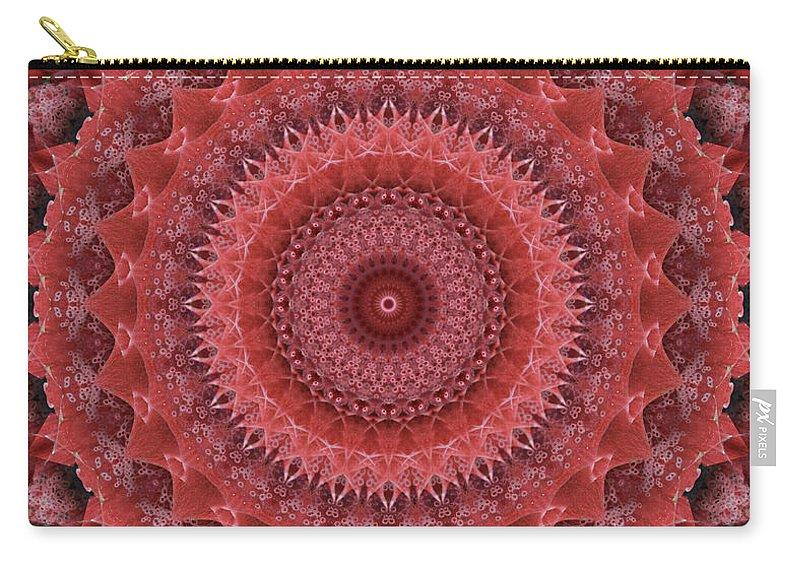 Mandala Carry-all Pouch featuring the digital art Mandala In Reds by Jaroslaw Blaminsky