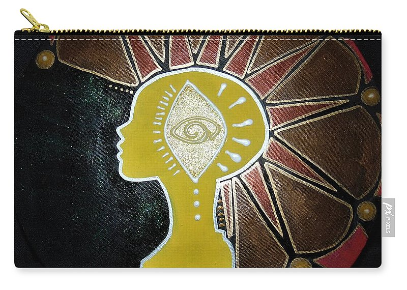 Mohawk Carry-all Pouch featuring the painting Mandala Mohawk by Kayanna South
