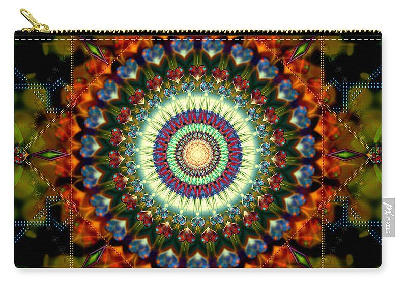 Mandala Carry-all Pouch featuring the digital art Mandala of Loves Journey by Stephen Lucas