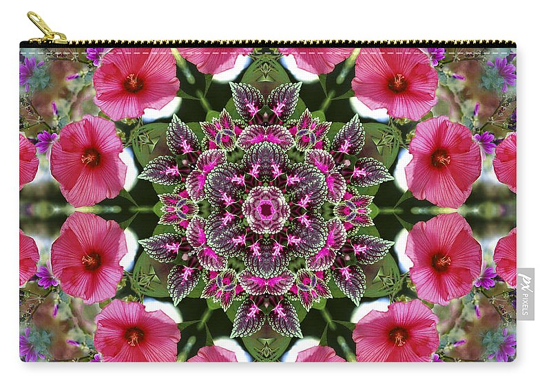 Mandala Carry-all Pouch featuring the digital art Mandala Pink Patron by Nancy Griswold