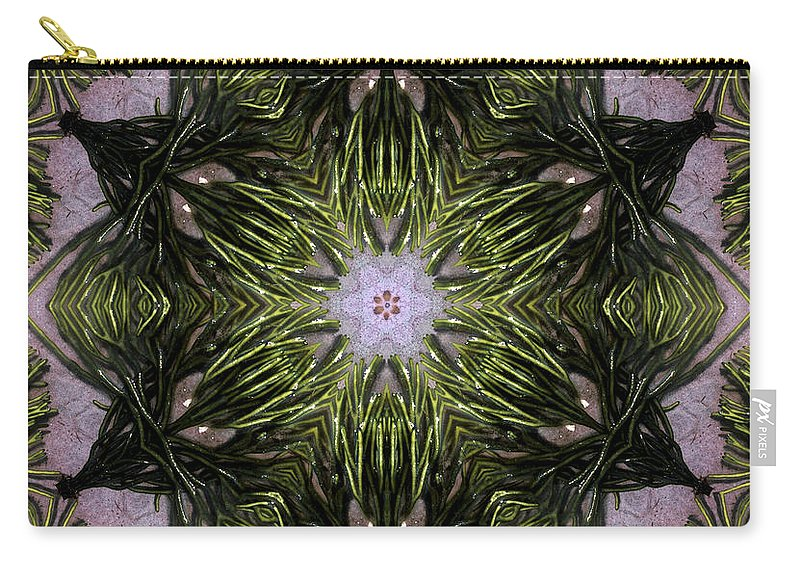 Mandala Carry-all Pouch featuring the digital art Mandala Sea Sponge by Nancy Griswold