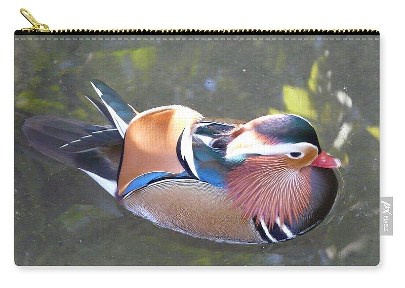 Bird Carry-all Pouch featuring the photograph Mandarin Duck by Valerie Ornstein