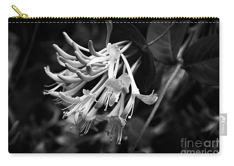 Mandarin Honeysuckle Vine Carry-all Pouch featuring the photograph Mandarin Honeysuckle Vine 1 Black And White by Marina McLain
