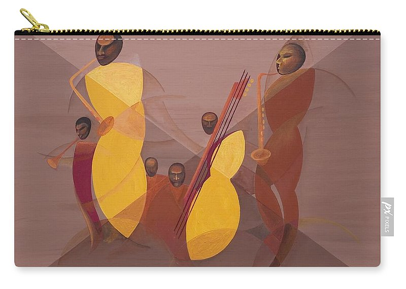 Mango Jazz Carry-all Pouch featuring the painting Mango Jazz by Kaaria Mucherera