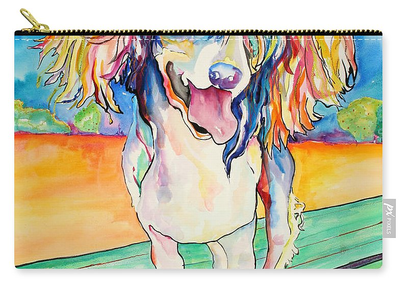 Chinese Crested Carry-all Pouch featuring the painting Mango Salsa by Pat Saunders-White