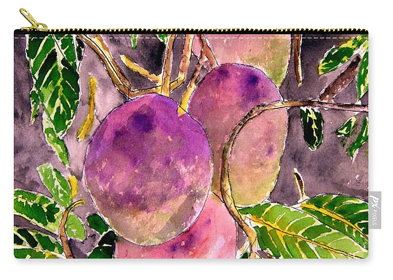 Mango Carry-all Pouch featuring the painting Mango Tree Fruit by Derek Mccrea