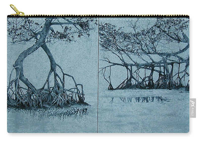 Blue Carry-all Pouch featuring the painting Mangroves by Leah Tomaino
