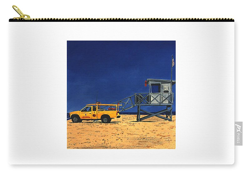 Modern Carry-all Pouch featuring the painting Manhattan Beach Lifeguard Station Side by Lance Headlee