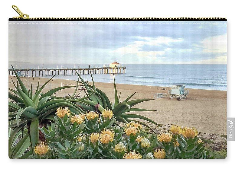 Manhattan Beach Carry-all Pouch featuring the photograph Manhattan Beach View by Art Block Collections