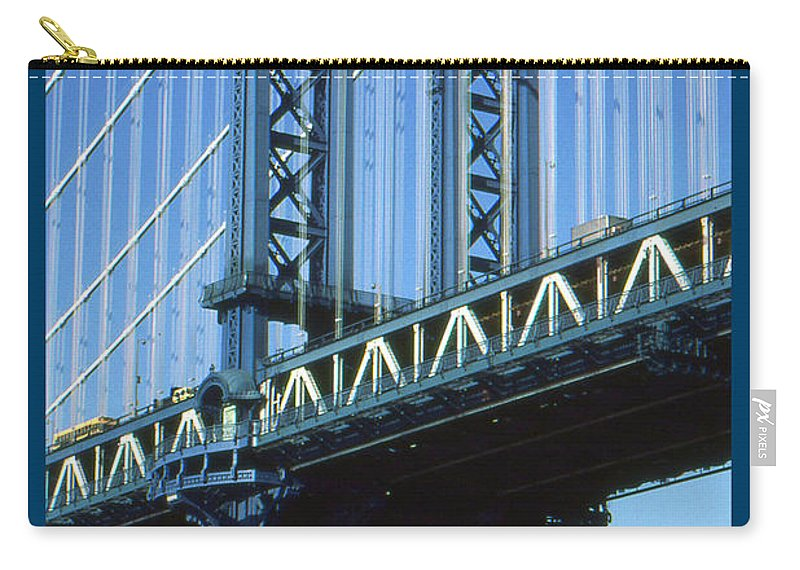 New+york Carry-all Pouch featuring the photograph New York City Poster - Manhattan Bridge by Peter Potter