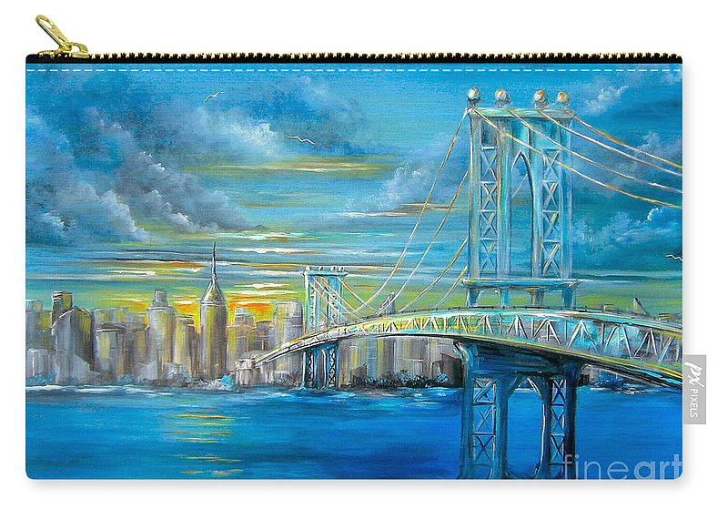 Manhattan Carry-all Pouch featuring the painting Manhattan Bridge by Patrice Torrillo
