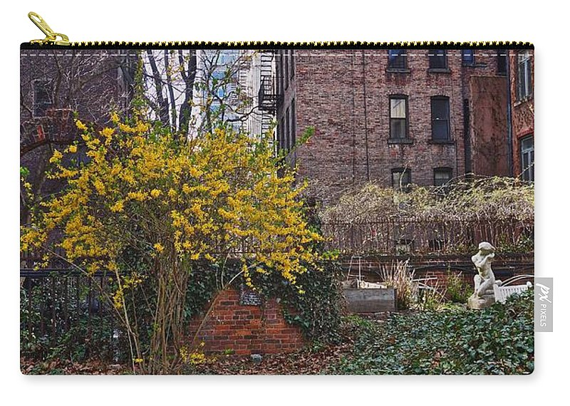 New York City Buildings Carry-all Pouch featuring the photograph Manhattan Community Garden by Joan Reese