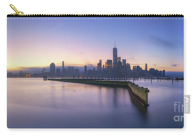 Manhattan Carry-all Pouch featuring the photograph Manhattan From Jersey City Panorama by Michael Ver Sprill