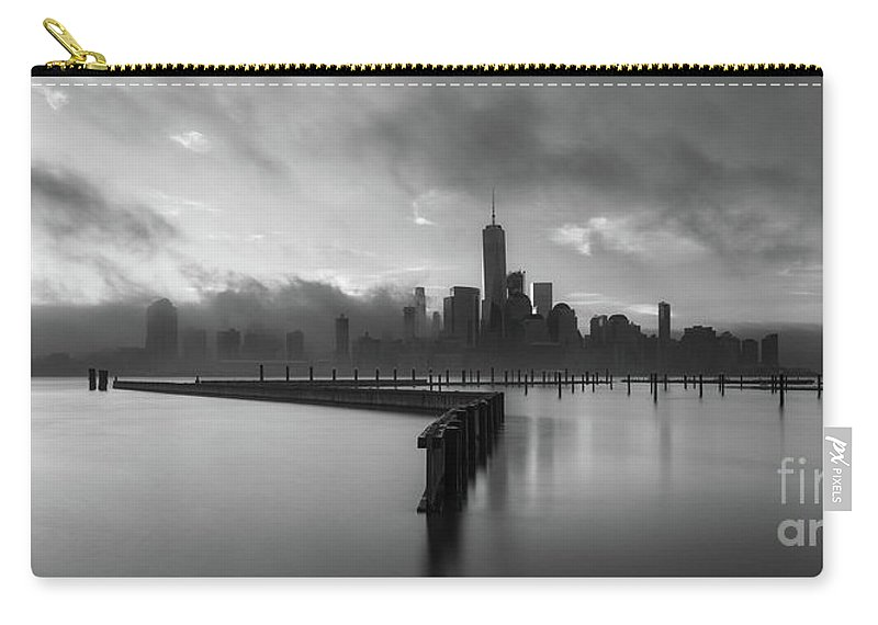 Manhattan Carry-all Pouch featuring the photograph Manhattan On Fire Bw Pano by Michael Ver Sprill