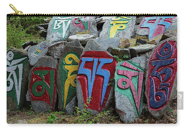 Prayer Stones Carry-all Pouch featuring the photograph Mani Stones by Kurt Meredith