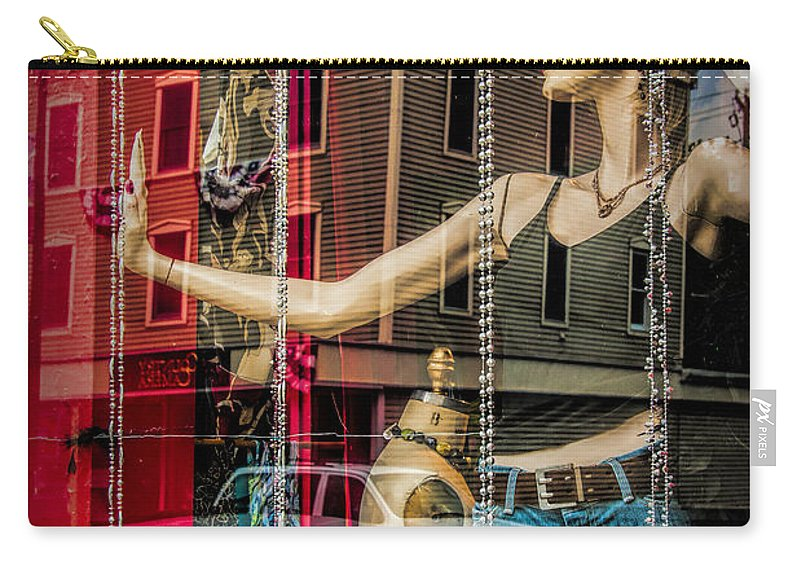 Art Carry-all Pouch featuring the photograph Mannequin In Storefront Window Display With No Escape by Randall Nyhof
