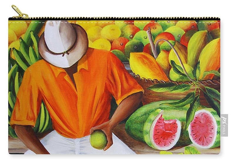 Caribbean Carry-all Pouch featuring the painting Manuel The Caribbean Fruit Vendor by Dominica Alcantara