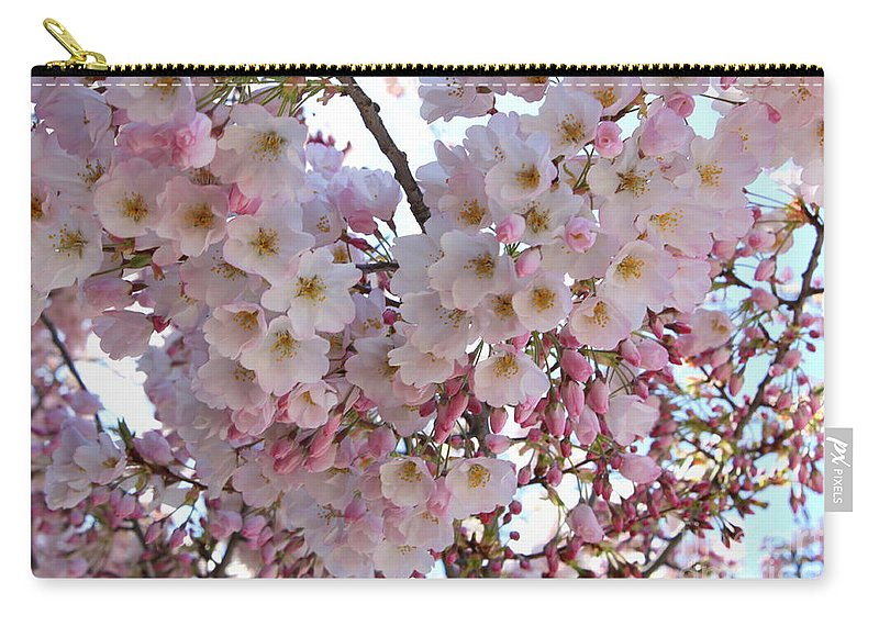 Pink Blossoms Carry-all Pouch featuring the photograph Many Pink Blossoms by Carol Groenen