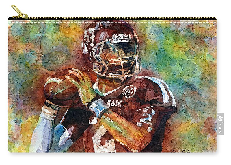 Manziel Carry-all Pouch featuring the painting Manziel by Hailey E Herrera