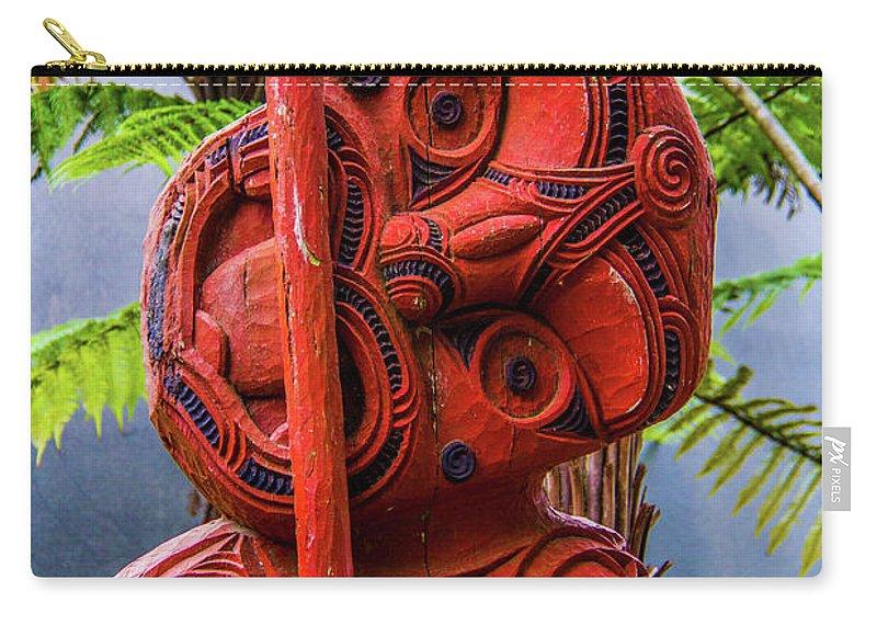 Te Whakarewarewa Carry-all Pouch featuring the photograph Maori Guardian by Roberta Bragan