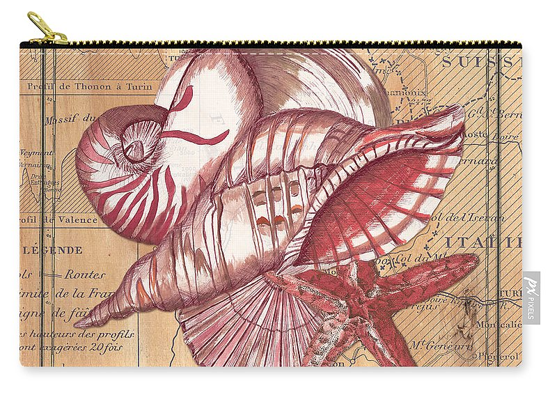 Shellfish Carry-all Pouch featuring the painting Map And Shells by Debbie DeWitt