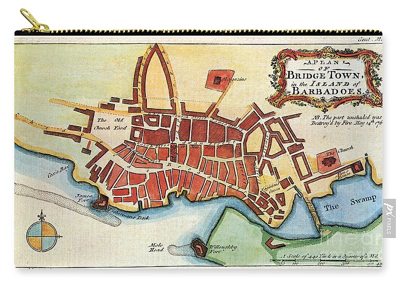 1770 Carry-all Pouch featuring the photograph Map: Barbados, C1770 by Granger