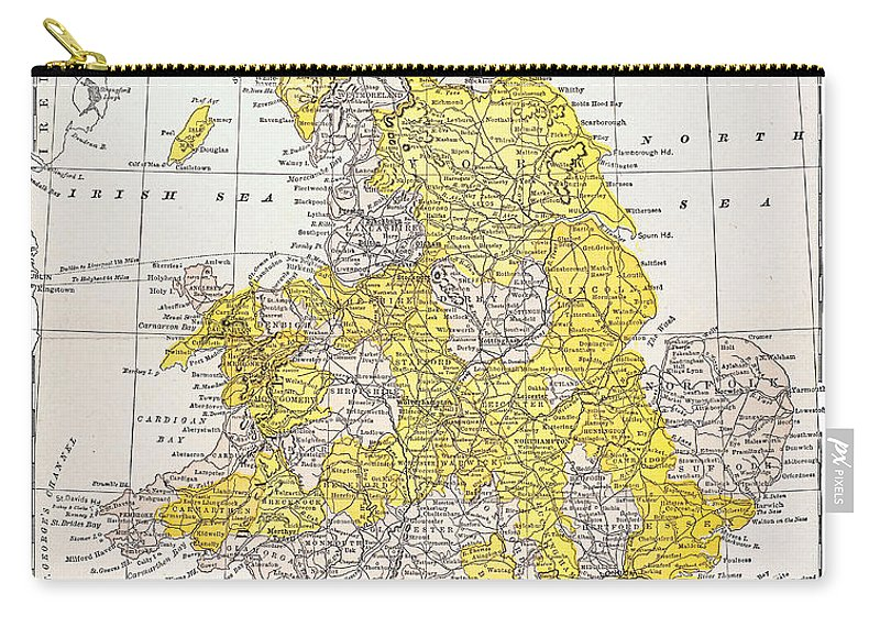 19th Century Carry-all Pouch featuring the photograph Map: England & Wales by Granger